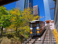 Los angeles angels flight funicular in downtown at hill street Royalty Free Stock Photo