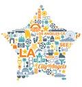 Los angeles california icons symbols landmarks big set oflos Royalty Free Stock Image