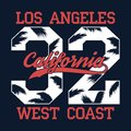 Los Angeles, California - number print for t-shirt with palm tree leaf. West Coast typography graphic for apparel, clothes. Vector