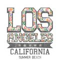 `Los Angeles, California, summer beach` typography, tee shirt printing