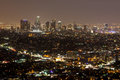 Los angeles cbd the view from griffith observatory towards la at night in california usa Royalty Free Stock Photography