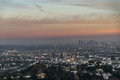 Los angeles cityscape suggestive view of la from up on the hills Royalty Free Stock Image