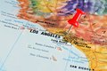 Los angeles on map close up of a with red pin Royalty Free Stock Photos