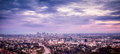 Los angeles skyline panoramic during a beautiful sunset Royalty Free Stock Photos