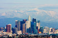 Los angeles with snowy mountains in the background Royalty Free Stock Images