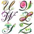 Los elementos de los alfabetos diseñan - las series U a Z Foto de archivo