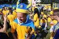 Los fanáticos del fútbol suecos se divierten durante el EURO 2012 Fotografía de archivo libre de regalías