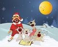 Los gatos y Papá Noel cantan los himnos de la Navidad. Cartoo Fotografía de archivo