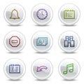 Los iconos del color del Web del organizador, el círculo blanco abotonan Fotos de archivo libres de regalías