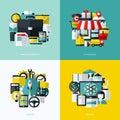 Los iconos planos del vector fijaron de los servicios financieros comercio electrónico inicio Foto de archivo libre de regalías