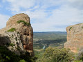 Los Mallos de Riglos unusual shaped red conglomerate rock formation in Spain