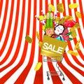 Los ornamentos y el carro de la compra de front view of new year en espacio del texto del modelo rayado Imagenes de archivo
