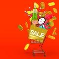 Los ornamentos y el carro de la compra de front view of new year en espacio rojo del texto Foto de archivo libre de regalías