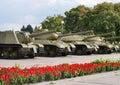 Los tanques soviéticos de wwii Imagen de archivo libre de regalías