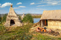 Los uros island urose at titicaca lake in peru Royalty Free Stock Photos