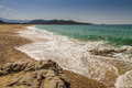 Losari beach in balagne region of corsica view across to ile rousse from the Royalty Free Stock Image
