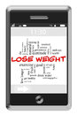 Lose Weight Concept on Touchscreen Phone Royalty Free Stock Image