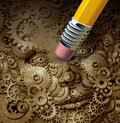 Losing function concept as a frontal head made of machine gears and cogs on a grunge background being erased by a pencil as a Stock Photography