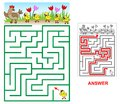 Lost chicken maze for kids. Royalty Free Stock Photo