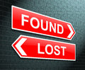 Lost or found concept illustration depicting a sign with a and Stock Photography