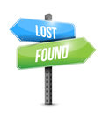 Lost and found road sign illustration design over white Royalty Free Stock Photos