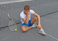 Lost game. Disappointed tennis player. Stock Photography