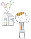 Lost home doodle stick figure concept sad businessman seeing his house taken away Stock Photo