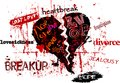 Lost love and lovesickness super grungy vector illustration Stock Photo