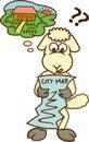 Lost Sheep Looking at City Map Cartoon Royalty Free Stock Photo