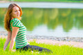 Lost in thought beautiful girl resting Royalty Free Stock Photo