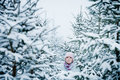 Lost Woman in Forest After Snowstorm Royalty Free Stock Photo
