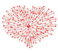 A lot of arrows flying in the heart Royalty Free Stock Photo