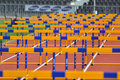 A lot of barriers photo was taken during the junior competition ukrainian championship in athletics between countries ukraine Stock Image