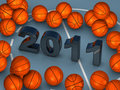 Lot of basketballs with 2011 in center Stock Photos