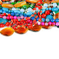 Lot of beads from different minerals and stone Royalty Free Stock Image