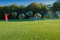 A lot of Big soap bubbles Royalty Free Stock Photo