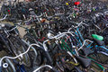 A lot of bikes on the bicycle parking amsterdam august august in amsterdam Stock Photo