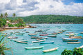 A lot of boats moored on standing and blue ocean Royalty Free Stock Photo