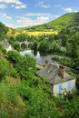 Lot bridge entraygues sur truyere france the ancient over the river and surrounding countryside at near aurillac in southern Royalty Free Stock Photography