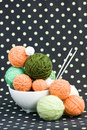 A lot of bright balls for knitting on a background Royalty Free Stock Photo