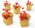 A lot of carton boxes with red hearts Stock Image