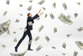 Lot of cash money flying and businessman catching them Royalty Free Stock Photo