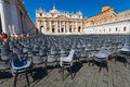 VATICAN CITY, VATICAN - September 13, 2016: A lot of chairs are on the St. Peter`s Basilica Royalty Free Stock Photo