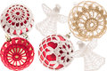 Lot of christmas balls on white background Royalty Free Stock Photo