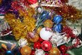 A lot of Christmas decorations of balls and toys, preparation for the holiday Royalty Free Stock Photo