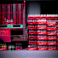 Lot of coca coca cola coke chest and bottle Royalty Free Stock Photo