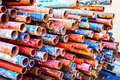 A lot of colored iron metal pipe Royalty Free Stock Photo