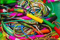 Lot of colorful jump skipping rope Royalty Free Stock Photo