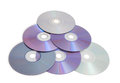 A lot of compact disks on white background Stock Photo