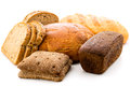 A lot of different bread on a white background Royalty Free Stock Photo